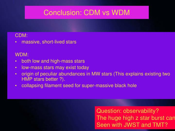 Conclusion: CDM vs WDM
