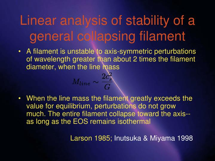 Linear analysis of stability of a general collapsing filament