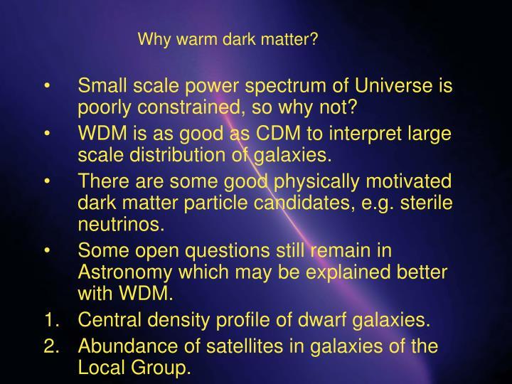 Why warm dark matter?