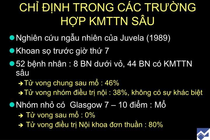 CHỈ ĐỊNH TRONG CÁC TRƯỜNG HỢP KMTTN SÂU