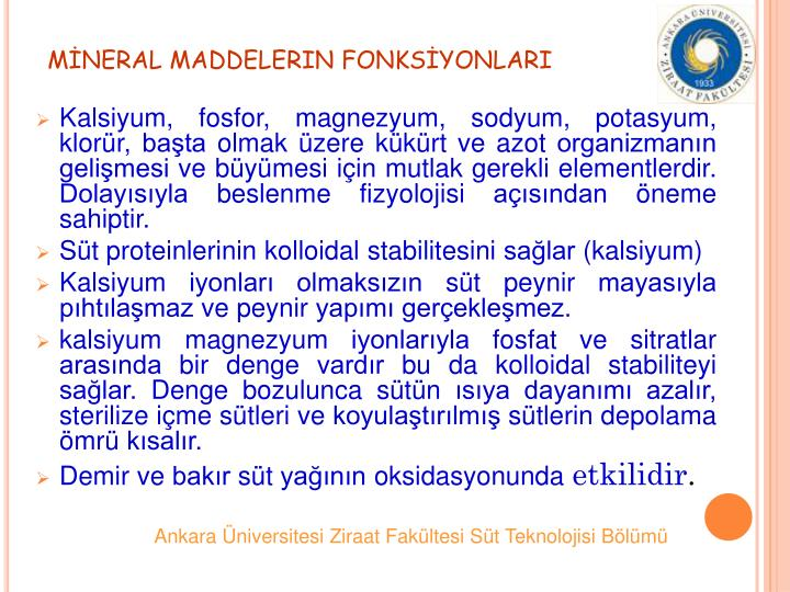 MNERAL MADDELERIN FONKSYONLARI