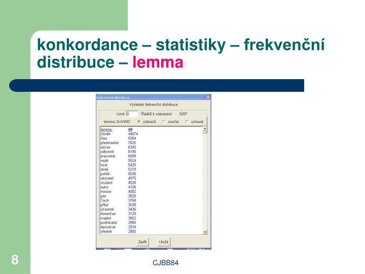 konkordance – statistiky – frekvenční distribuce –