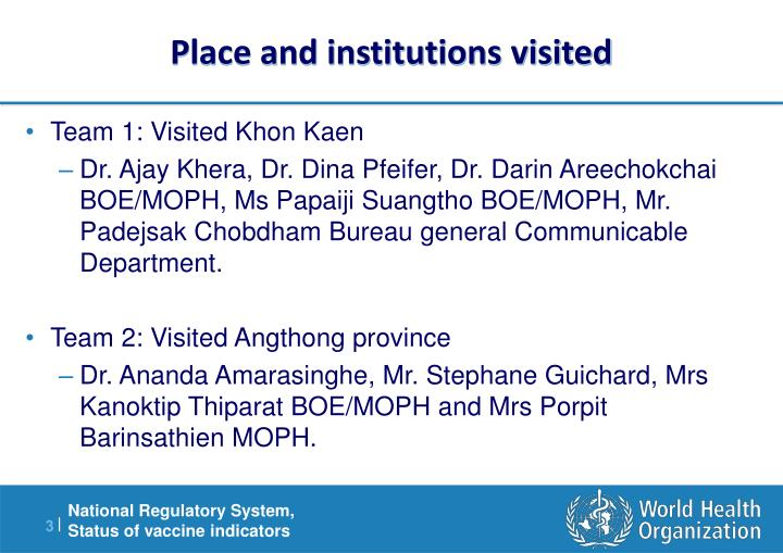 Place and institutions visited