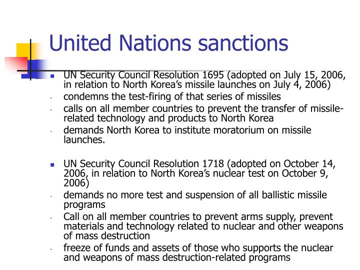 United Nations sanctions