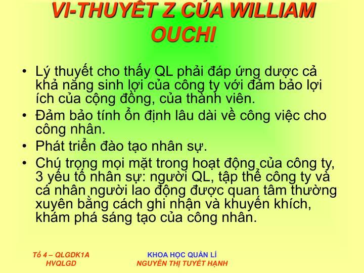 VI-THUYẾT Z CỦA WILLIAM OUCHI