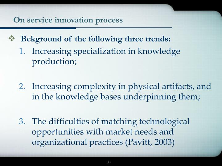 On service innovation process