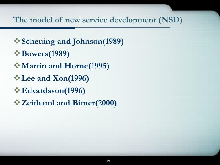 The model of new service development (NSD)
