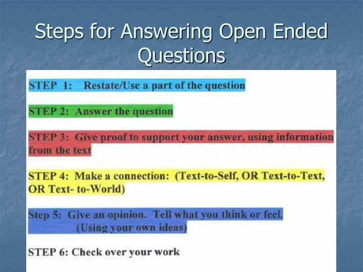 Steps for Answering Open Ended Questions