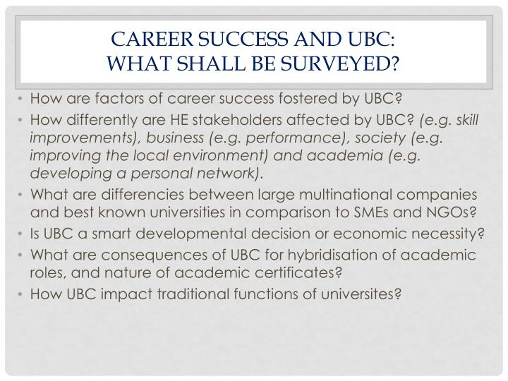 CAREER SUCCESS AND UBC: