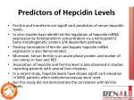 predictors of hepcidin levels