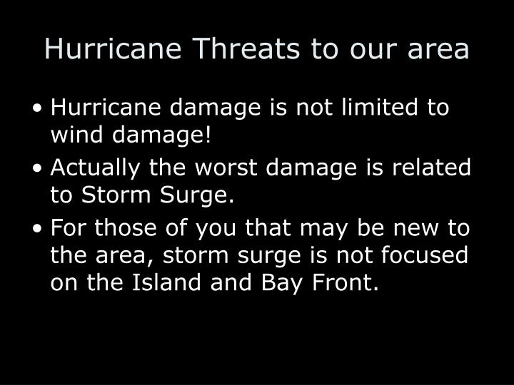 Hurricane Threats to our area