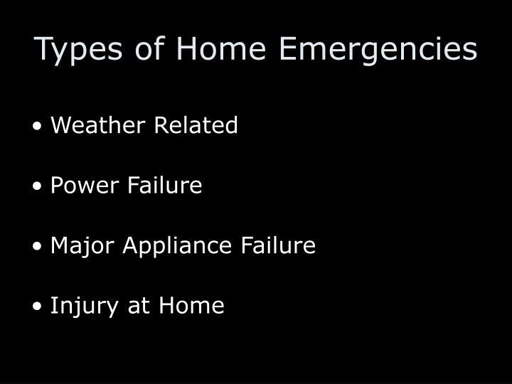 Types of Home Emergencies