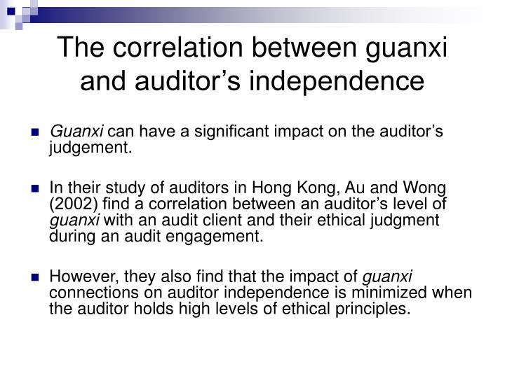 The correlation between guanxi and auditor's independence