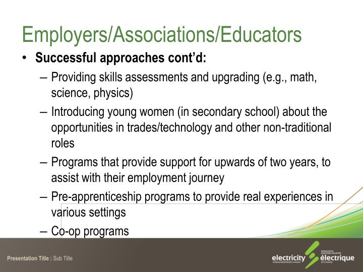 Employers/Associations/Educators