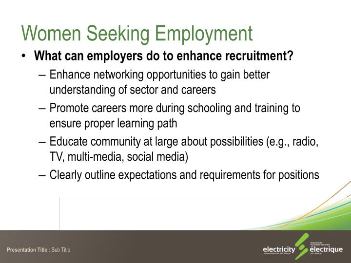 Women Seeking Employment