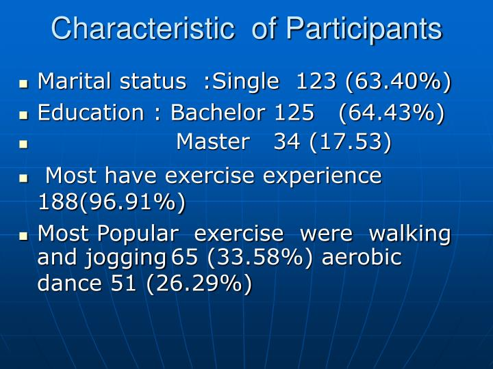 Characteristic  of Participants