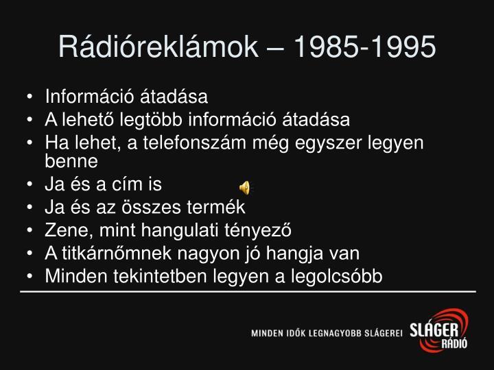Rádióreklámok – 1985-1995