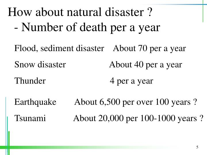 How about natural disaster ?