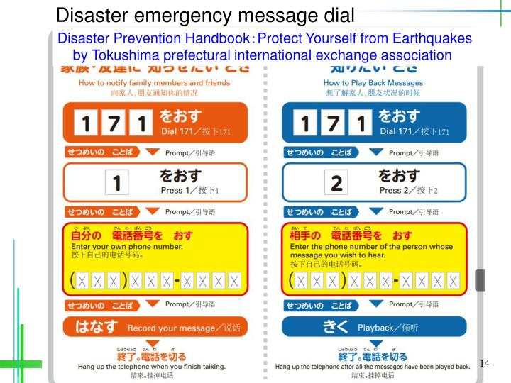 Disaster emergency message dial