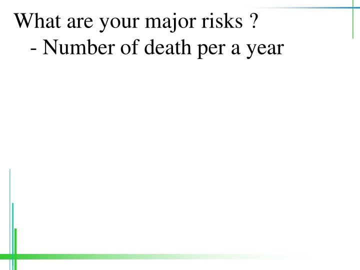 What are your major risks number of death per a year