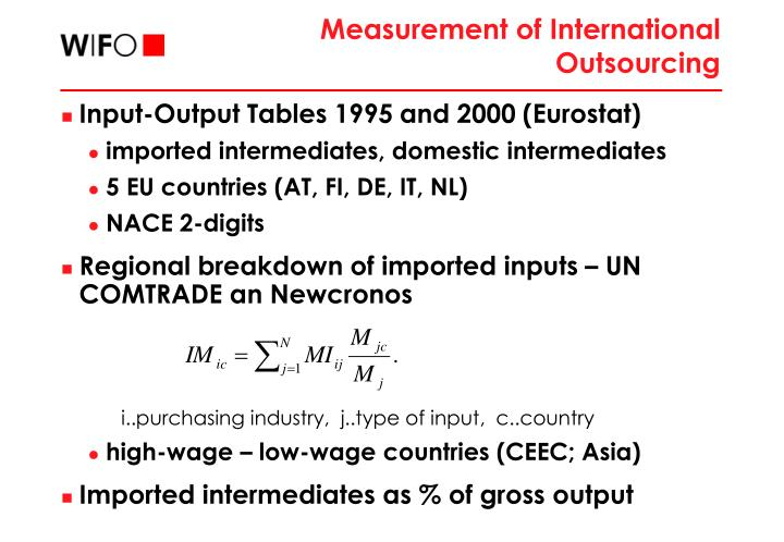 Measurement of International Outsourcing