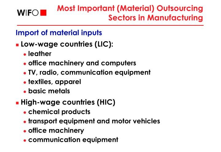 Most Important (Material) Outsourcing Sectors in Manufacturing