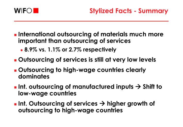 Stylized Facts - Summary