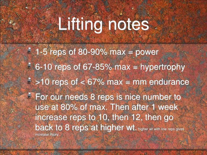 Lifting notes