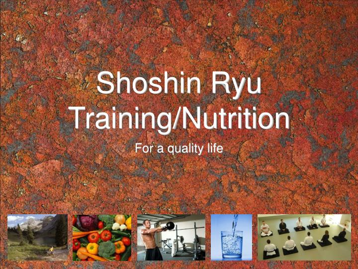 Shoshin ryu training nutrition