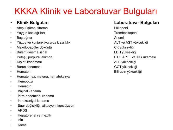 KKKA Klinik ve Laboratuvar Bulguları