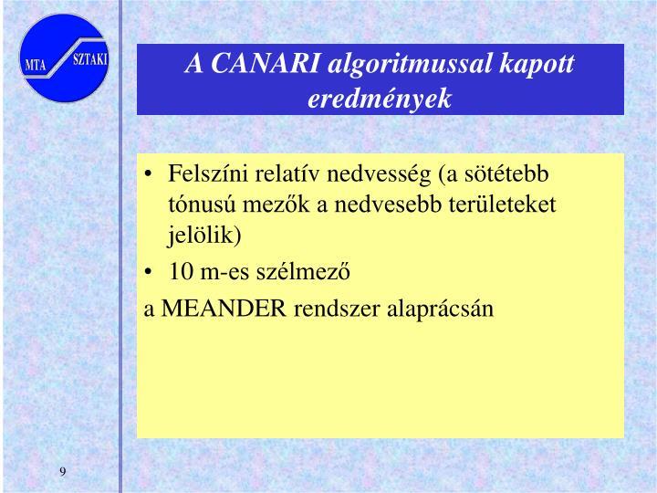 A CANARI algoritmussal kapott eredmények