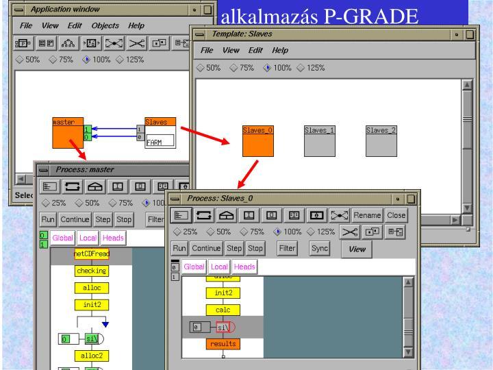 A delta alkalmazás P-GRADE rendszerben implementálva