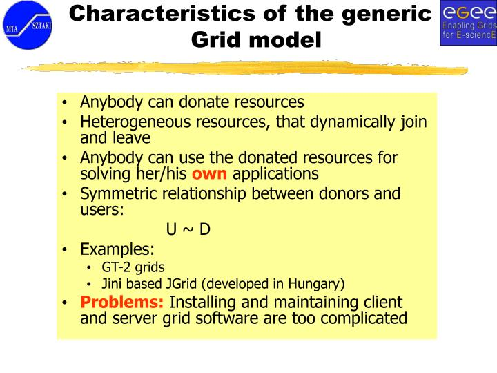 Characteristics of the generic Grid