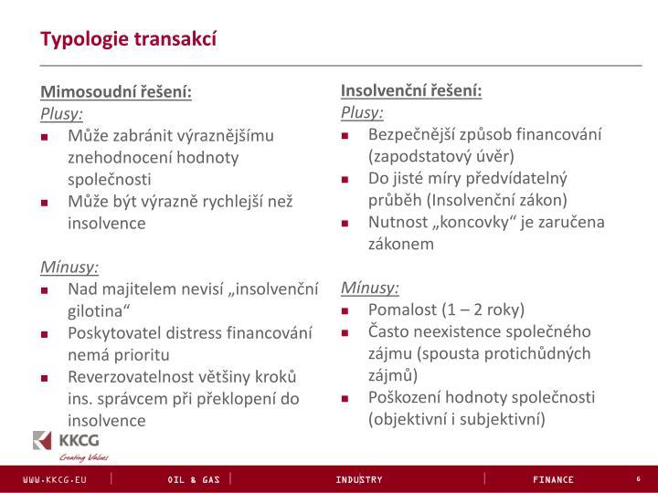 Typologie transakcí