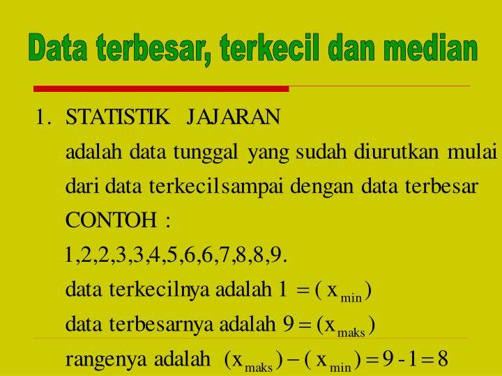Data terbesar, terkecil dan median