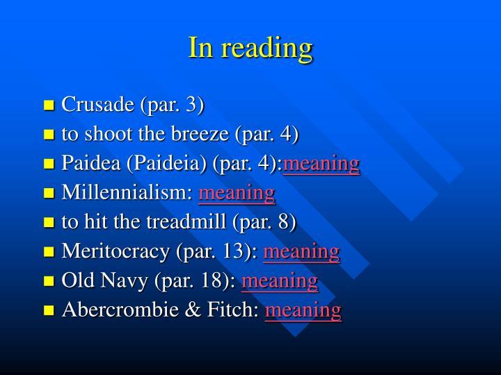 In reading