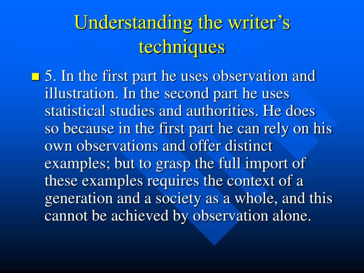 Understanding the writer's techniques
