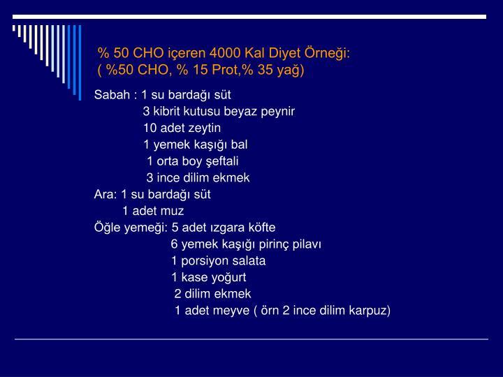 % 50 CHO içeren 4000 Kal Diyet Örneği: