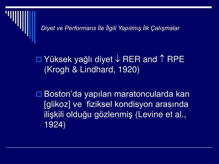 Diyet ve Performans İle İlgili Yapılmış İlk Çalışmalar