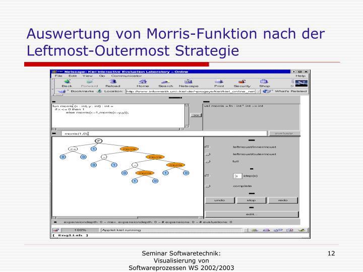 Auswertung von Morris-Funktion nach der Leftmost-Outermost Strategie