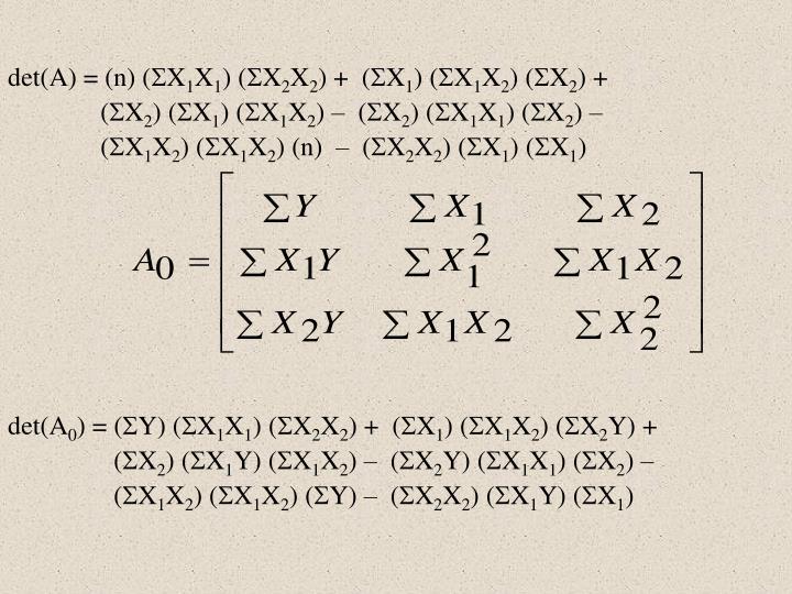 det(A) = (n) (