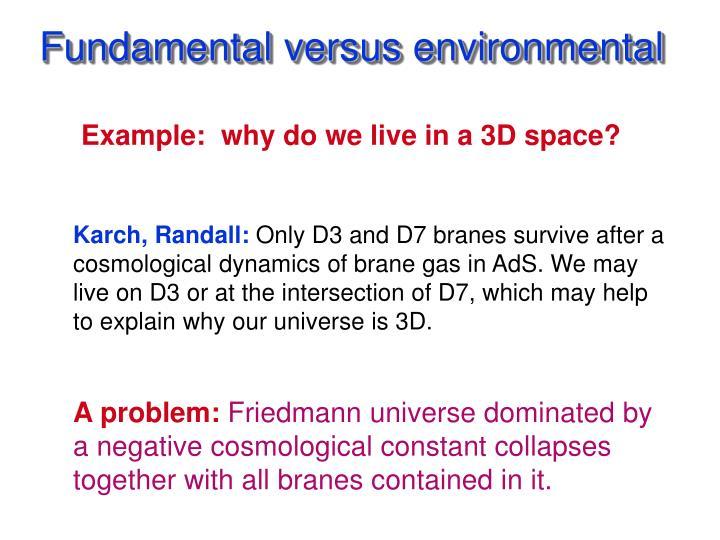 Fundamental versus environmental