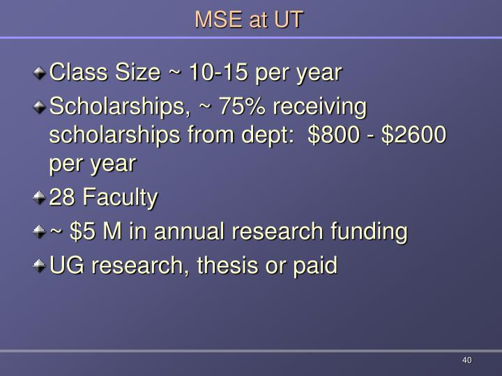 MSE at UT