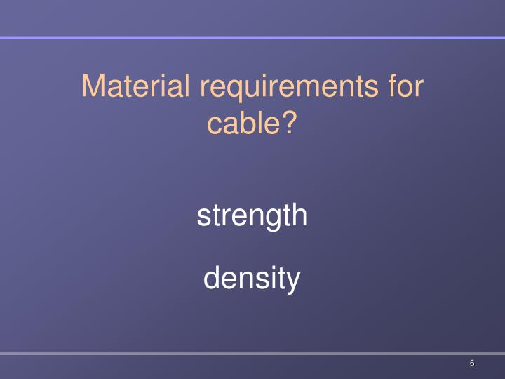 Material requirements for cable?