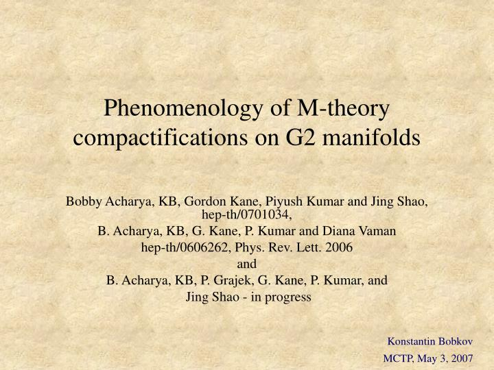 Phenomenology of m theory compactifications on g2 manifolds