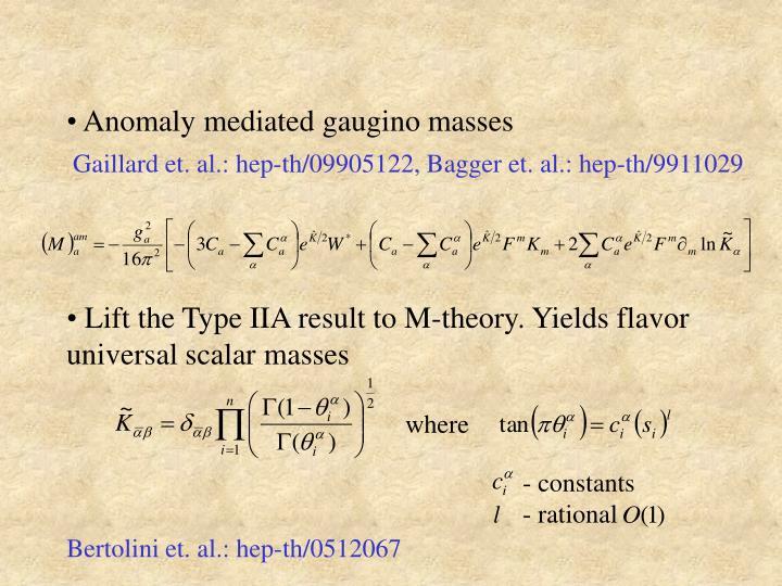 Anomaly mediated gaugino masses
