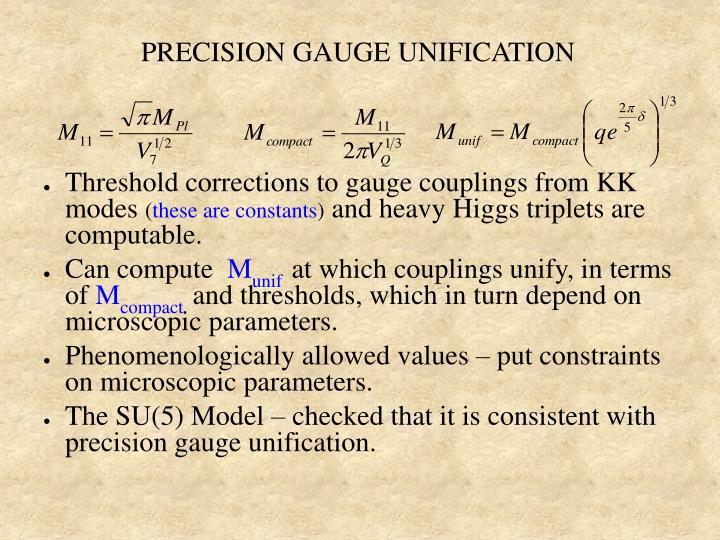 PRECISION GAUGE UNIFICATION