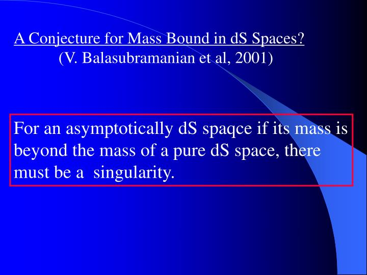 A Conjecture for Mass Bound in dS Spaces?
