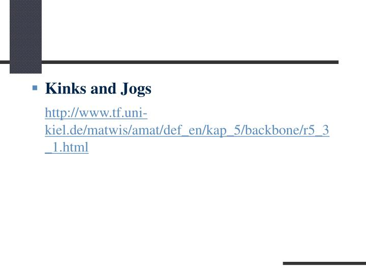 Kinks and Jogs
