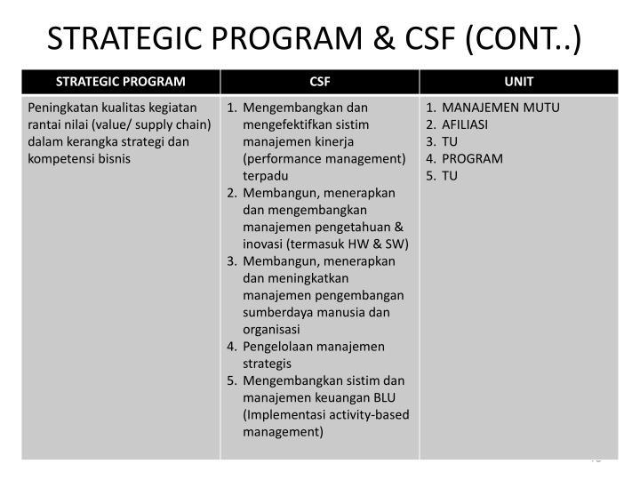 STRATEGIC PROGRAM & CSF (CONT..)